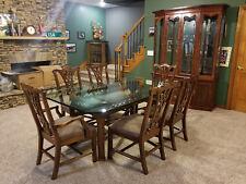 Elegant 10 PC Formal Dining Room Set Glass Top Table LIKE NEW 16K