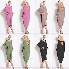 Women CrewNeck Long Sleeve Backless Batwing Cocktail Partywear Baggy Midi Dress