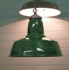 "18"" diameter green enamelled industrial ceiling  light factory studio 1940s"