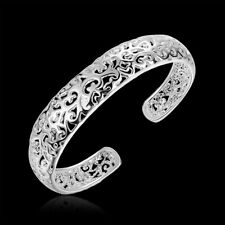 Women 925 Silver Filled Hollow Cuff Bangle Charm Bracelet Fashion Jewelry Gifts