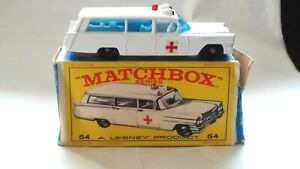 VINTAGE ORIGINAL BOX MATCHBOX LESNEY 1965 #54 S & S CADILLAC AMBULANCE - WHITE