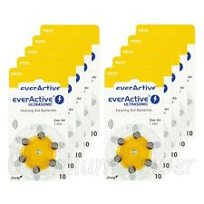 60 cells x everActive Hearing aid 10 Size batteries Zinc Air PR70 1.45V