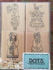 DOTS CTMH S324 SMALL FRIENDSHIPS Set of 4 Stamps Girls Bunny Raggedy Ann Bees