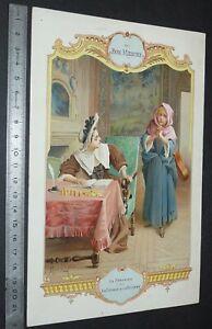 GRAND CHROMO 1909 AU BON MARCHE PARIS LELOIR FABLES LA FONTAINE CIGALE FOURMI