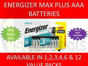 Energizer Max Plus AAA Alkaline Batteries VALUE PACKS LR03 1.5V Exp 2031 UK