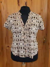 WALLIS oatmeal light beige brown circles frill short sleeve blouse shirt top 18