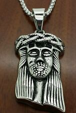 "Stainless steel two tone  Jesus face pendant + 24 "" long 3mm round chain necklac"