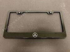 1x MERCEDES-LOGO BLACK Stainless Metal License Plate Frame + Screw Caps