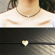 Fashion Women Faux Leather Chokers Chain Heart Necklace Vintage Jewelry Black JD