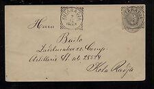 Netherlands  Indies  square cancel 1893 postal envelope       PS1013