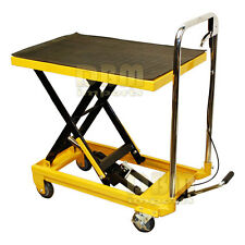 """Portable 330 LB Hydraulic Scissor Table Lift 9"""" to 28"""" Jack Cart Truck Mobile"""