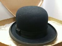 Vintage Men's Mens Size 7 John B STETSON Co Black Felt Derby HAT