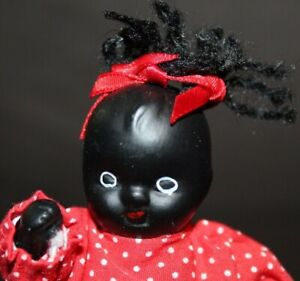 Vintage ALL BISQUE Black Baby Doll LITTLE African American