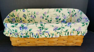 LONGABERGER SIGNED 1999 VANITY BASKET WITH YELLOW VINE FABRIC LINER ~ EXCELLENT