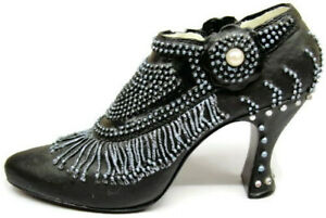 Black Shoe Pearl Fringed w Turquoise Beads Nostalgia If The Shoe Fits #VD107R