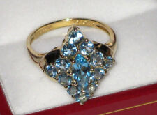 *SALE* 14K Yellow Gold Blue Topaz Cluster Diamond Shaped Ring 3.9 Grams Size 7