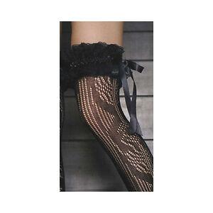 Trasparenze Giza Black Lace Tie Ruffle Garter O/S