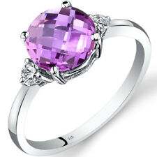 14K White Gold Created Pink Sapphire Diamond Ring 2.50 Carat Round Cut Size 7