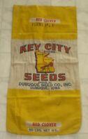 Rare Vintage Key City Red Clover Dubuque Seed Co. Canvas Sack / Bag Iowa (A5)