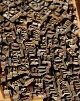 Konvolut Messinglettern Buchbinden Messingschrift Prägen Schrift Heißprägen rar