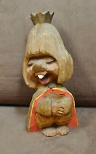 Vintage Henning Norway Hand Carved Wood Troll Royal Queen with Crown