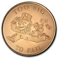 1 oz 999 Kupfer Copper Kupfermedaille Münze To Big to Fail 2015 Silver Shield