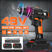 48V Electric Cordless Drill Rechargeable Driver Screw 18+1 Torque Repair Tool US