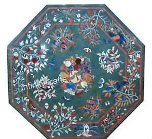 48 Inches Marble Lawn Table Top Octagon Dining Table Top with Pietra Dura Art