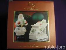 """LENOX AMERICAN by DESIGN HOLIDAY """" SANTA & SLEIGH SALT AND PEPPER SET NEW IN BOX"""