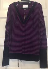 American Eagle Outfitters Blue and Magenta Stripes Hooded Sweater XL