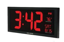 AcuRite 75100c 18-inch Large LED Clock With Indoor Temperature