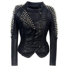 Punk Rock Women Rivets Bar Leather Jacket Biker Motorcycle Coats Clubwear Gothic
