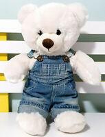 Build-A-Bear TEDDY BEAR BAB Soft Plush Toy 40cm Tall! WHITE OVERALLS