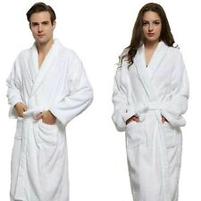Unisex 100% Cotton Thick Terry Towel Shawl Collar Bath robe Gown SPA Hotspring