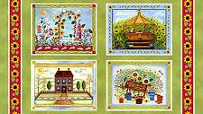 """""""Gazebo"""" Garden/ Flowers/ Summer Pillow/ Wall Hanging Cotton Fabric Panel"""