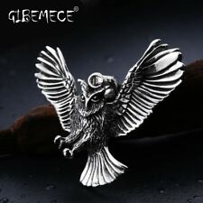 For Man Stainless Steel Personality Punk Unique Design Cool Owl Necklace Pendant