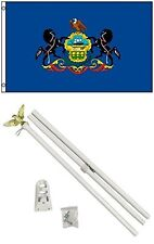 3x5 State of Pennsylvania Flag White Pole Kit Set 3'x5'
