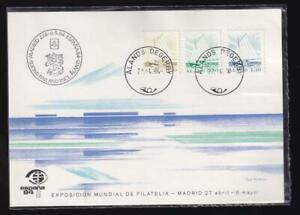 Aland 1984 ESPAÑA '84 unused exhibition postcard, Sloop/Ship sc#2-4, sealed pkg