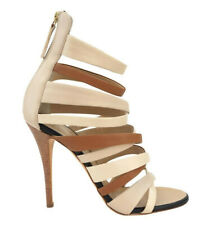 GIUSEPPE ZANOTTI 36 Ivory Beige Brown Leather Gladiator Heels US 5.5 NEW