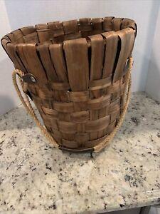 Vintage Large  Wicker Wood and Leather Hanging Basket Flower Pot Holder Planter.
