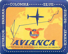 AVIANCA AIRLINE ~South America~ Great Old Luggage Label, c. 1955