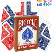 BICYCLE STANDARD RED DECK + 6 MAGIC TRICKS PLAYING CARDS BLANK DOUBLE BACK NEW