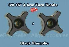 2 Hand Turn Knobs 38 16 Internal 4 Arm Female Insert Thread Black Phenolic