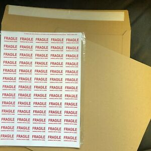 """10 12"""" STRONG PEEL AND SEAL BROWN RECORD MAILERS 20 STIFFENERS +FRAGILELABELS"""