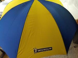 Large Folding Michelin Man golf Umbrella blue yellow rare, works great!