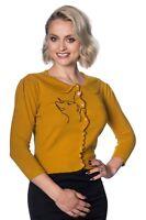 Mustard Retro Kitty Cat Rockabilly Peter Pan Collar Cardigan By Banned Apparel