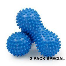 Spiky Massage Roller BLUE  2 PACK! Peanut Shape Trigger Point Foot & Hand Roller