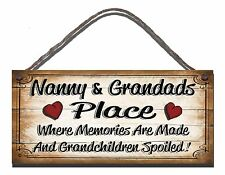 HANDMADE WOODEN SIGN PLAQUE NANNY AND GRANDADS PLACE WHERE MEMORIES GIFT PRESENT
