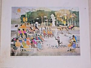 """Dong Kingman """"The Plaza at Central Park New York"""" Signed Print 13⅞"""" x 16¾"""" ©1979"""