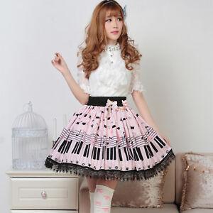 Sweet Blue Pink Piano Key black lace polyester japanese lolita skirt